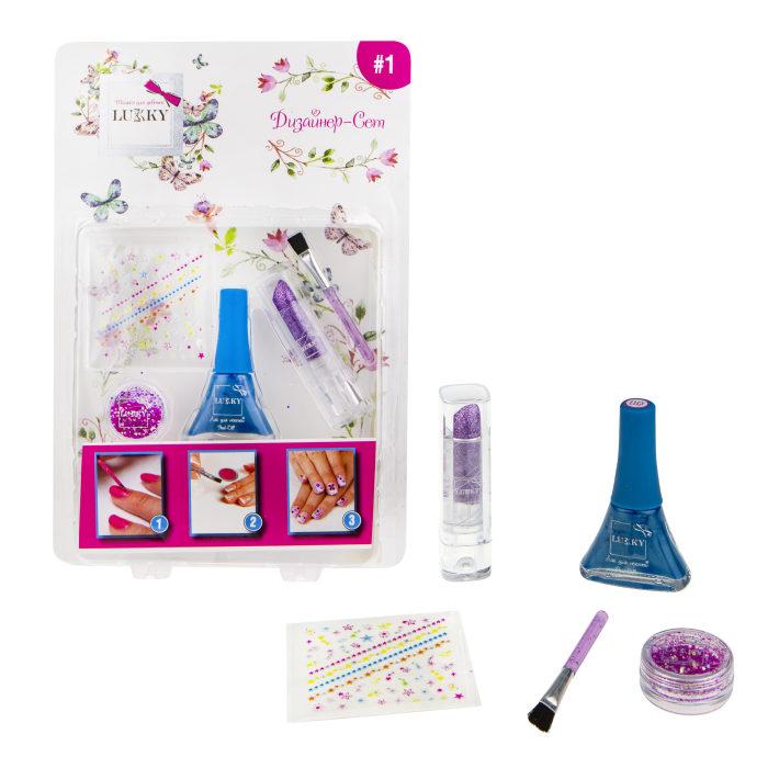 Купить Дизайнер-Сет №1: набор для дизайна ногтей с лаком 011 5, 5 мл, стиком для ногтей, кисточкой, фиолетовой помадой с блестками, сухими розовыми блестками, 1TOY