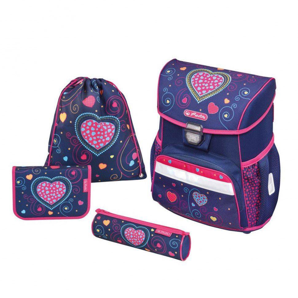 Школьный ранец Herlitz Loop Plus - Blue Hearts, с наполнениемШкольные рюкзаки<br>Школьный ранец Herlitz Loop Plus - Blue Hearts, с наполнением<br>