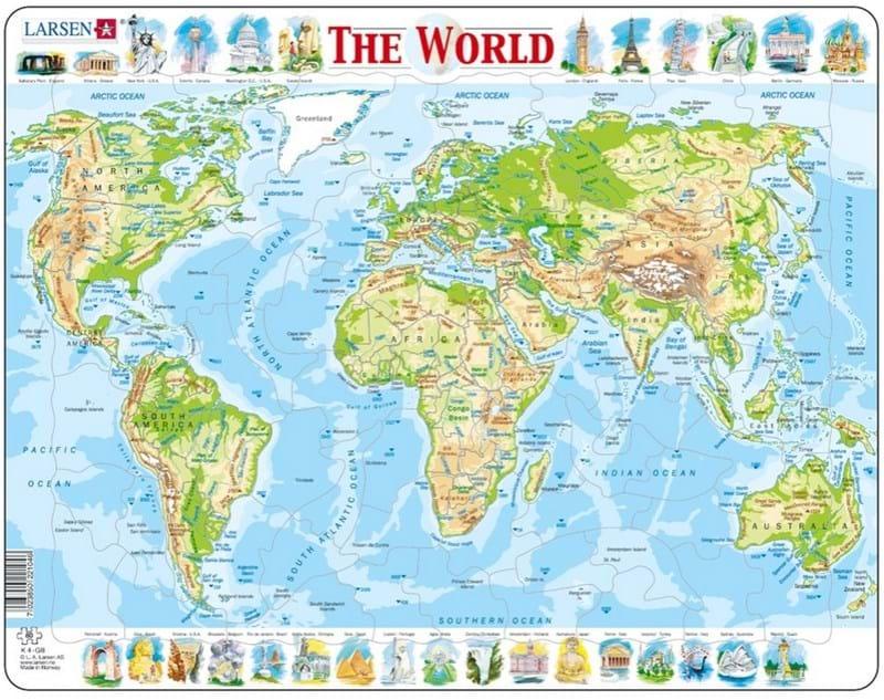 Купить Обучающий пазл – Мир, английский, 80 элементов, Larsen
