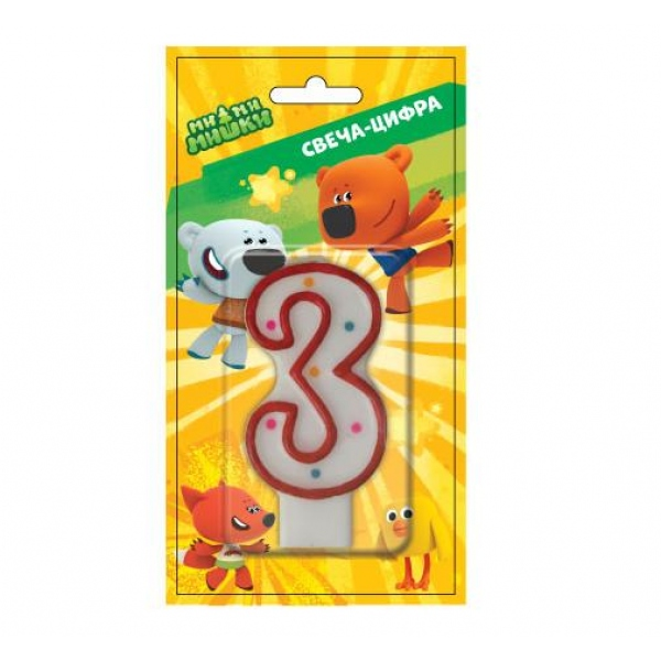 Свеча-цифра 3 - МиМи МишкиСвечи для торта<br>Свеча-цифра 3 - МиМи Мишки<br>