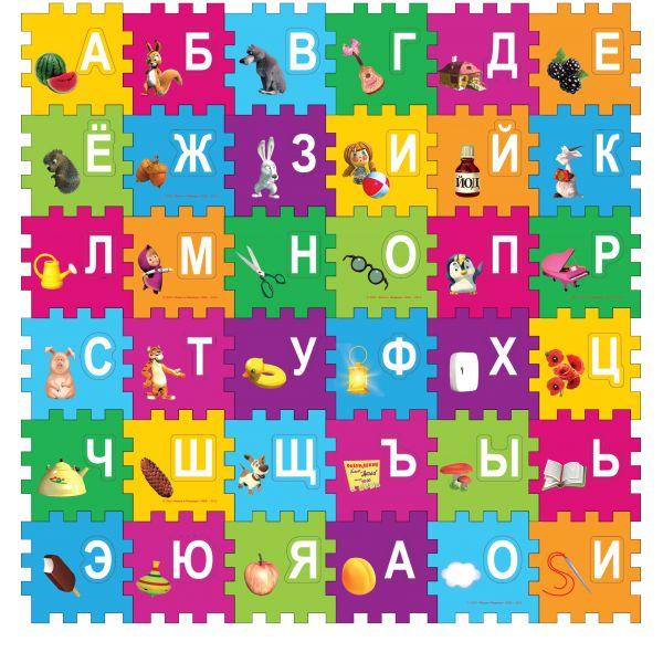 картинка Коврик-пазл «Маша и медведь» с вырезанными буквами от магазина Bebikam.ru