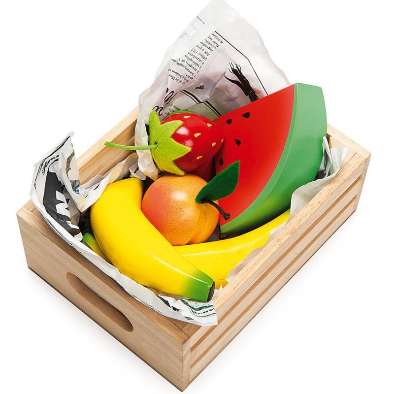 Еда игрушечная - Сочные фрукты в ящичкеДетская игрушка Касса. Магазин. Супермаркет<br>Еда игрушечная - Сочные фрукты в ящичке<br>