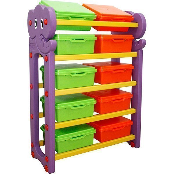 Стеллаж для хранения игрушек с крышками, 5 секцийКорзины для игрушек<br>Стеллаж для хранения игрушек с крышками, 5 секций<br>