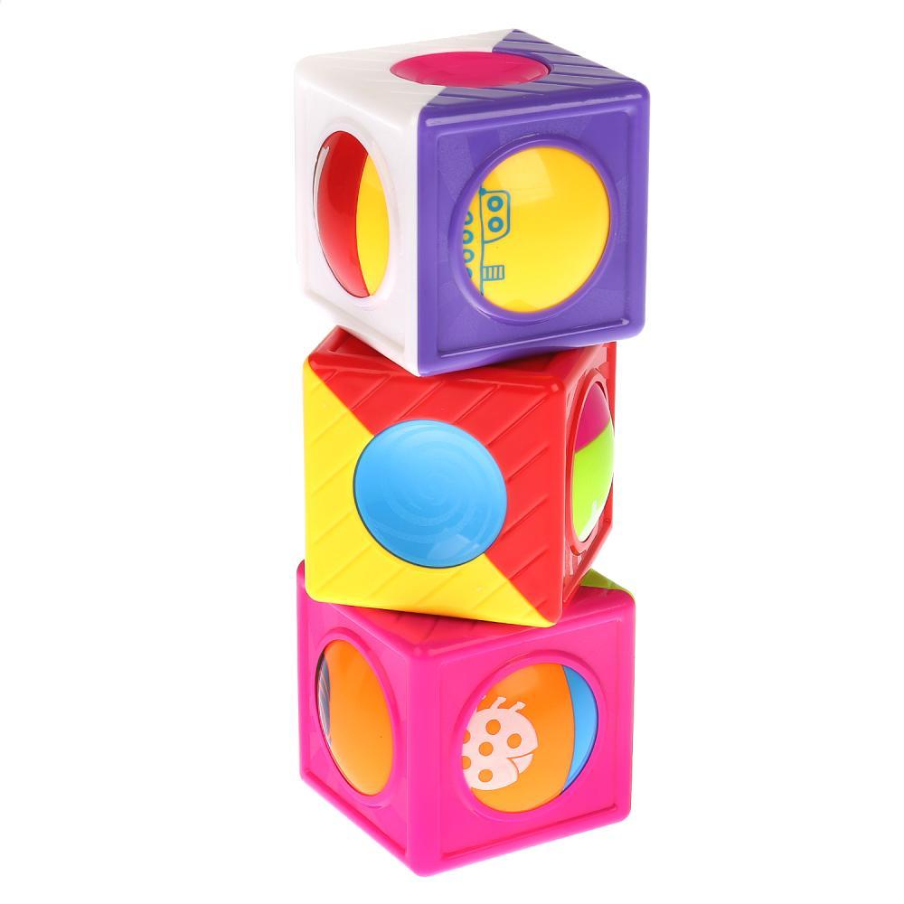 Купить Развивающая пирамидка с 3-мя кубиками, на блистере, Умка