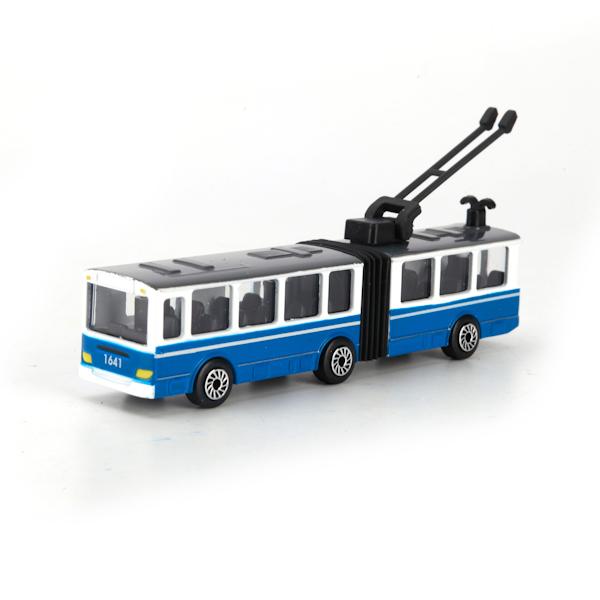 Купить Троллейбус металлический, 12 см, с резинкой, Технопарк