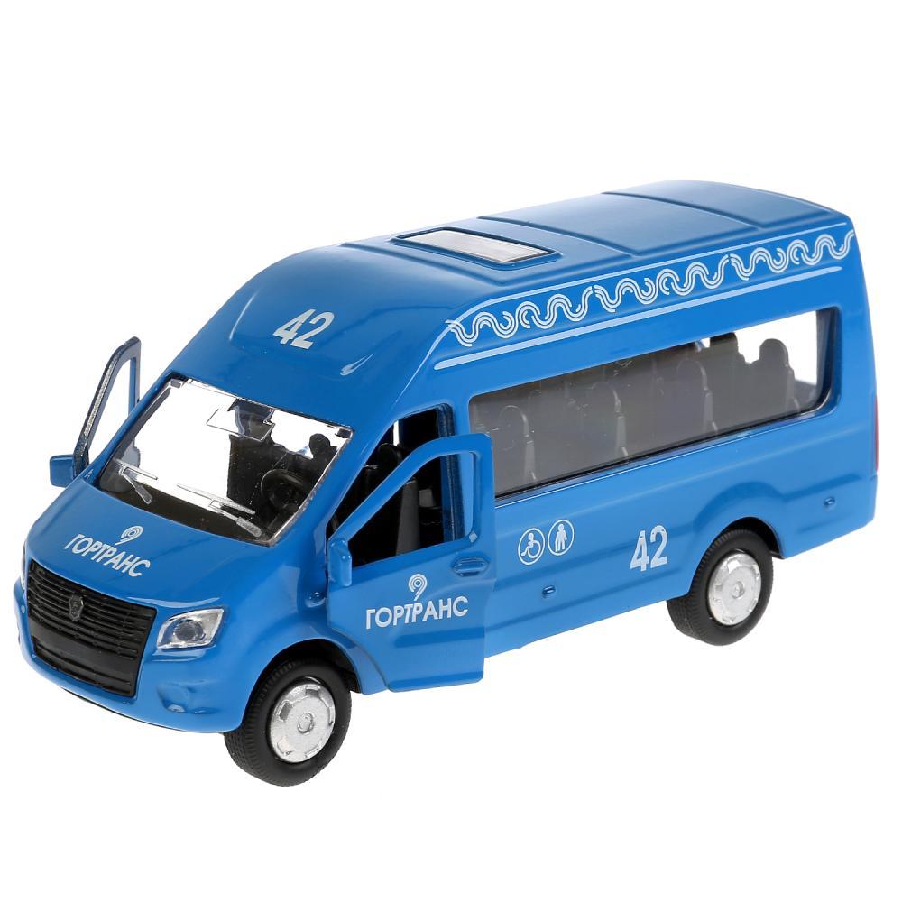 Купить Инерционная металлическая машина ГАЗ - Газель Next, синий, 12 см, открываются двери, Технопарк
