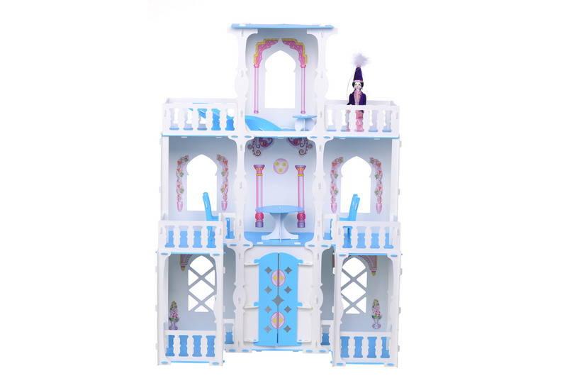 Домик с мебелью для кукол - Малика, бело-голубой