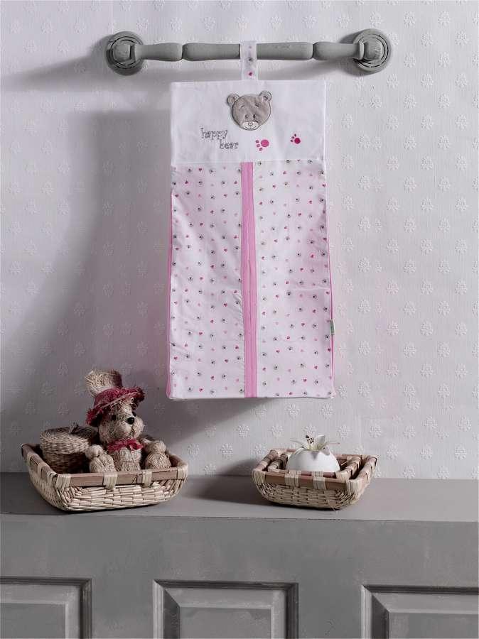 Прикроватная сумка серии Cute Bear розовая, 100% хлопок, размер 30 х 65 см.Декор и хранение<br>Прикроватная сумка серии Cute Bear розовая, 100% хлопок, размер 30 х 65 см.<br>