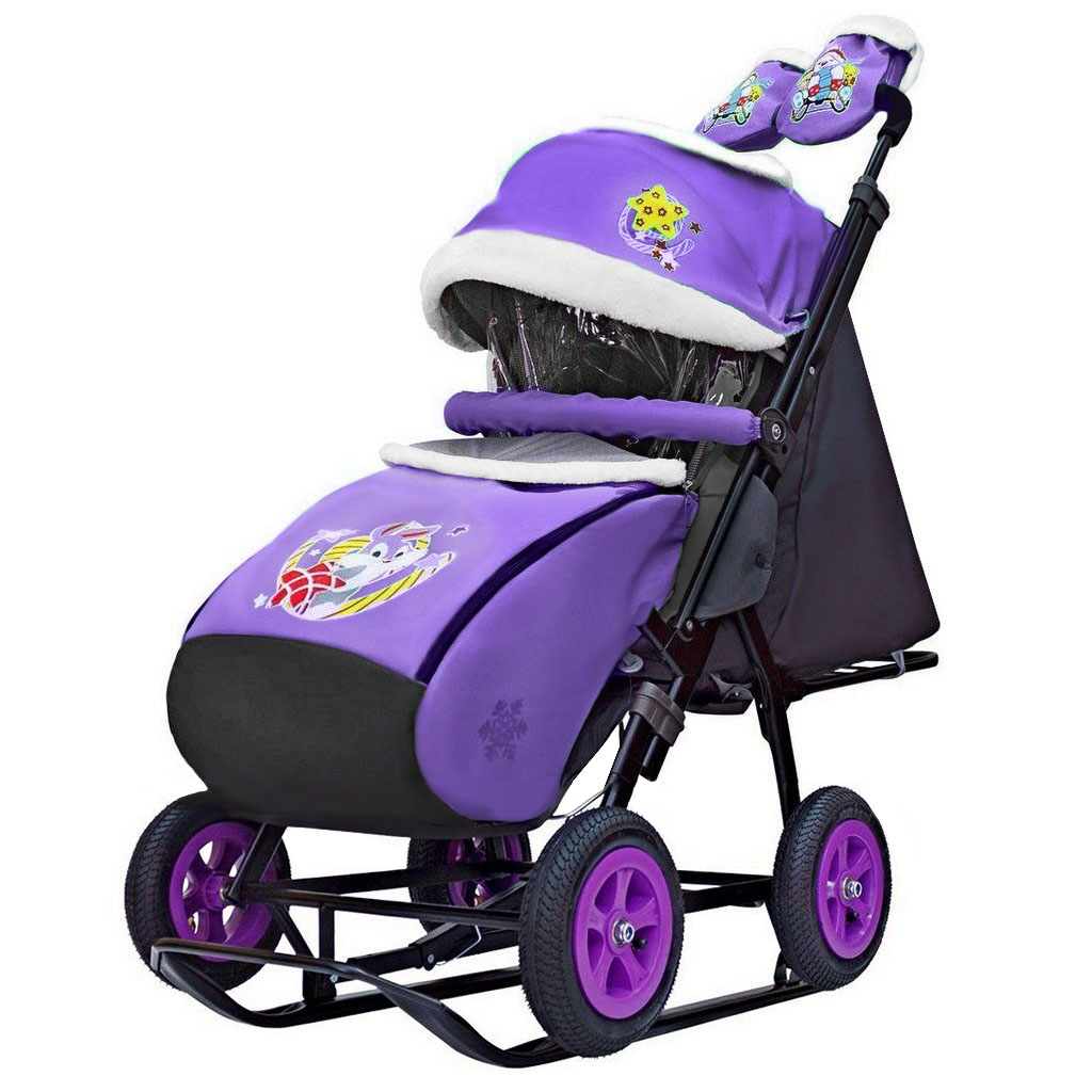 Купить Санки-коляска Snow Galaxy City-1-1 – Серый зайка на фиолетовом, на больших надувных колесах, сумка, варежки, RT