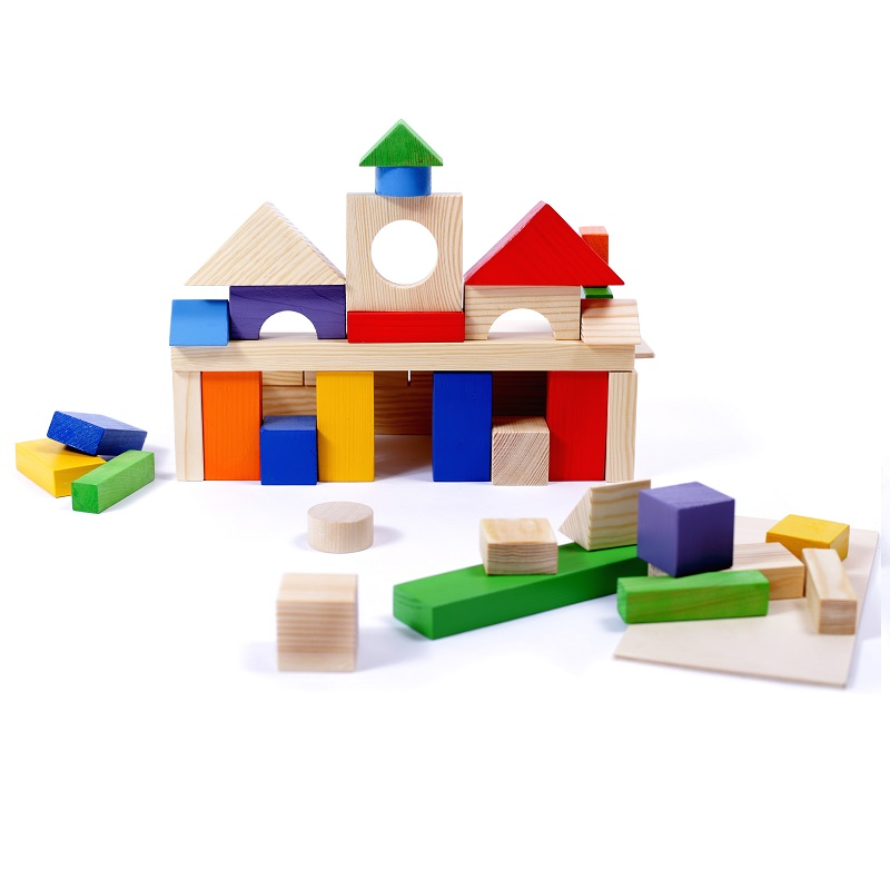 Купить Деревянный конструктор, 51 деталь, окрашенный, Paremo