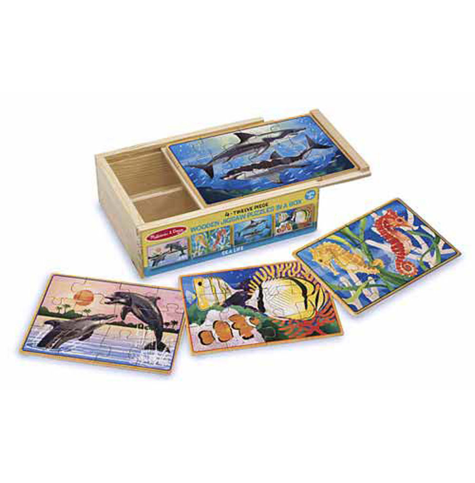 Купить Деревянные пазлы в коробке - Подводная жизнь, Melissa&Doug