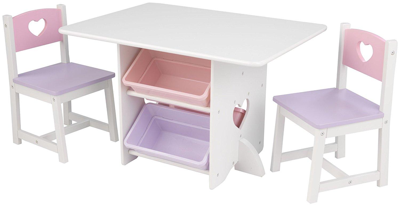 Набор детской мебели Heart: стол, 2 стула и 4 ящикаИгровые столы и стулья<br>Набор детской мебели Heart: стол, 2 стула и 4 ящика<br>