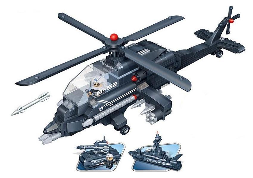 Конструктор 3 в 1: вертолет, танк, корабль,  295 деталейКонструкторы BANBAO<br>Конструктор 3 в 1: вертолет, танк, корабль,  295 деталей<br>