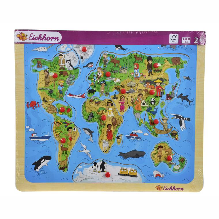 Пазл - Карта мира, 13 деталейПазлы для малышей<br>Пазл - Карта мира, 13 деталей<br>