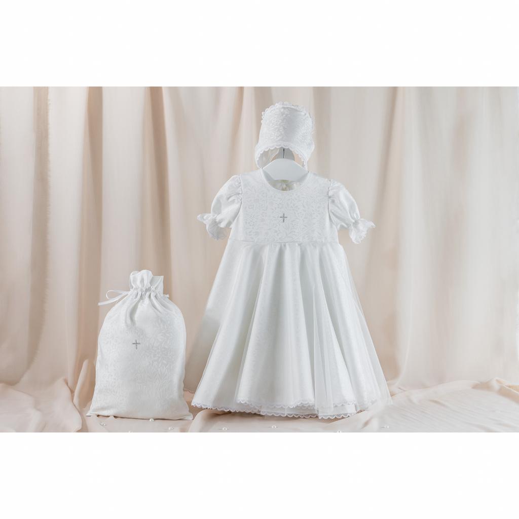 Крестильный набор для девочки – Ангелина, 3 предмета, 0-3 месяца