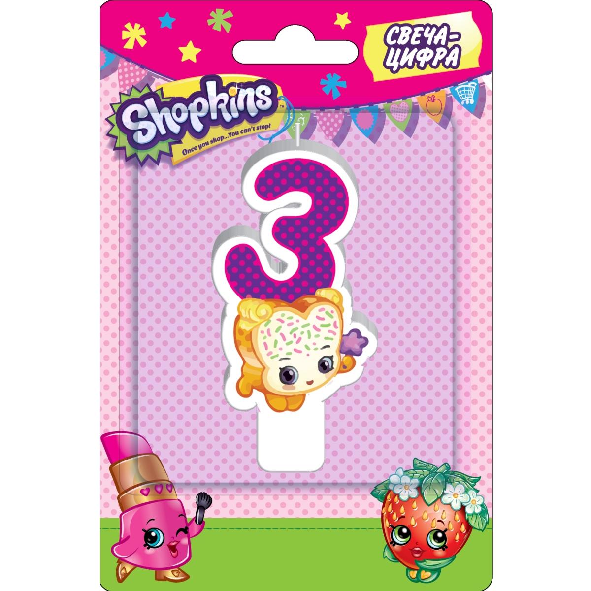 Фигурная свеча-цифра №3 из серии Шопкинс, 8 см.Свечи для торта<br>Фигурная свеча-цифра №3 из серии Шопкинс, 8 см.<br>