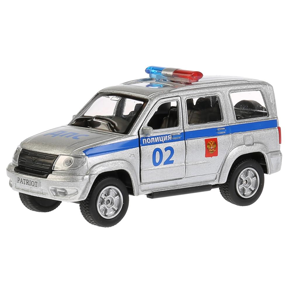 Купить Джип УАЗ Patriot полиция, 12 см, открываются двери и багажник, инерционный механизм, Технопарк