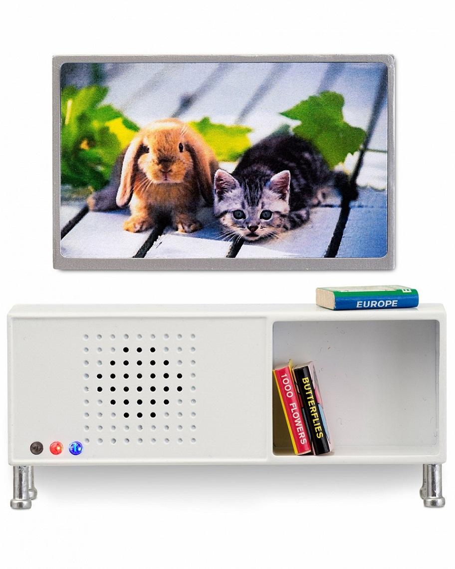 Мебель для домика - Музыкальный центр и телевизор белого цветаКукольные домики<br>Мебель для домика - Музыкальный центр и телевизор белого цвета<br>