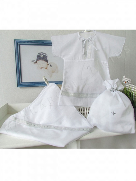 Крестильный набор для мальчика 3-6 месяцев – Классика, 3 предмета, белый/серебро Makkaroni Kids