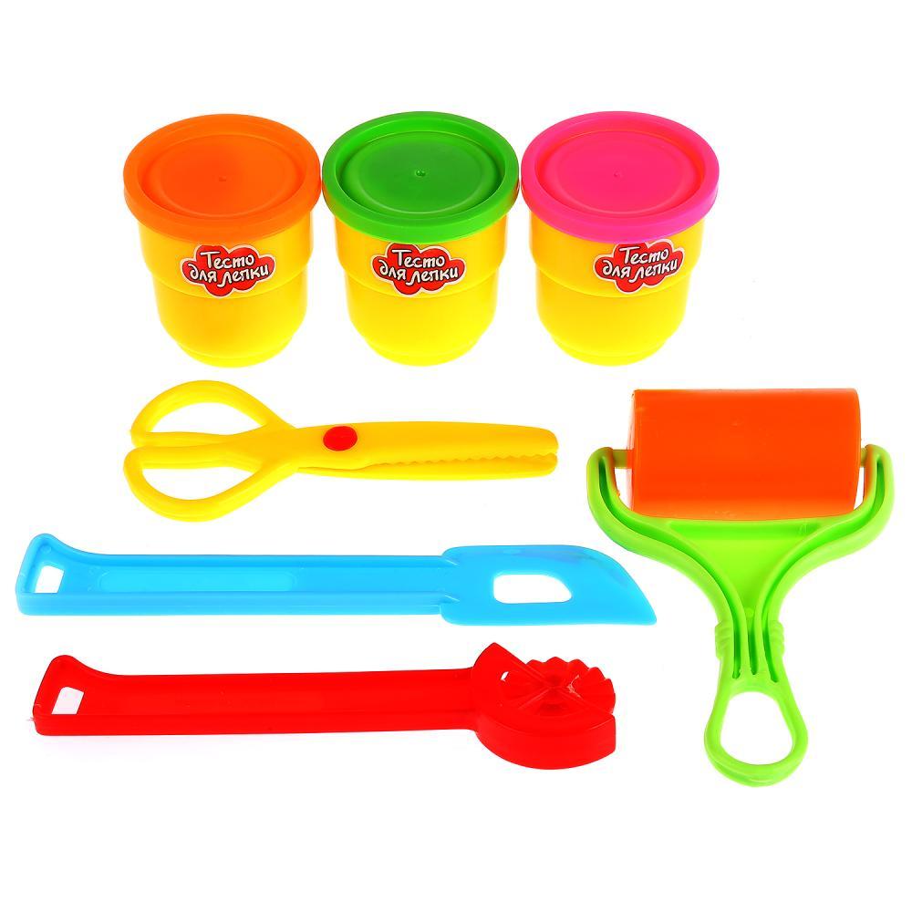 Купить Набор теста для лепки, 3 цвета теста, ножницы, валик, лопатка, нож, Multiart