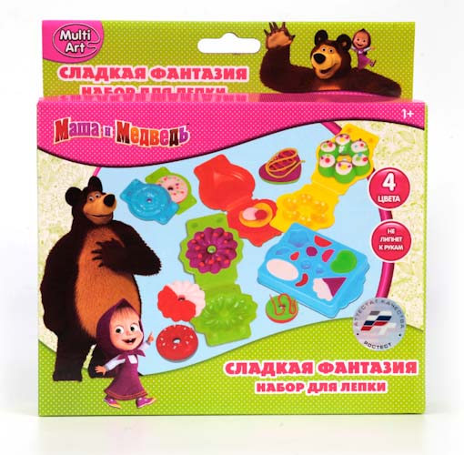Набор Маша и Медведь - Тесто для лепки. Сладкие фантазииМаша и медведь игрушки<br>Набор Маша и Медведь - Тесто для лепки. Сладкие фантазии<br>