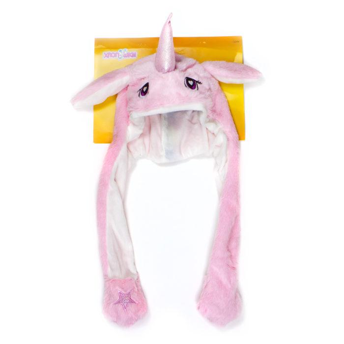 Шапка детская Хлоп-Ушки - Единорог розовый