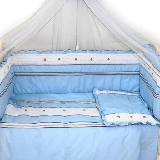 Комплект в кроватку - Любавушка, 7 предметов, голубойДетское постельное белье<br>Комплект в кроватку - Любавушка, 7 предметов, голубой<br>