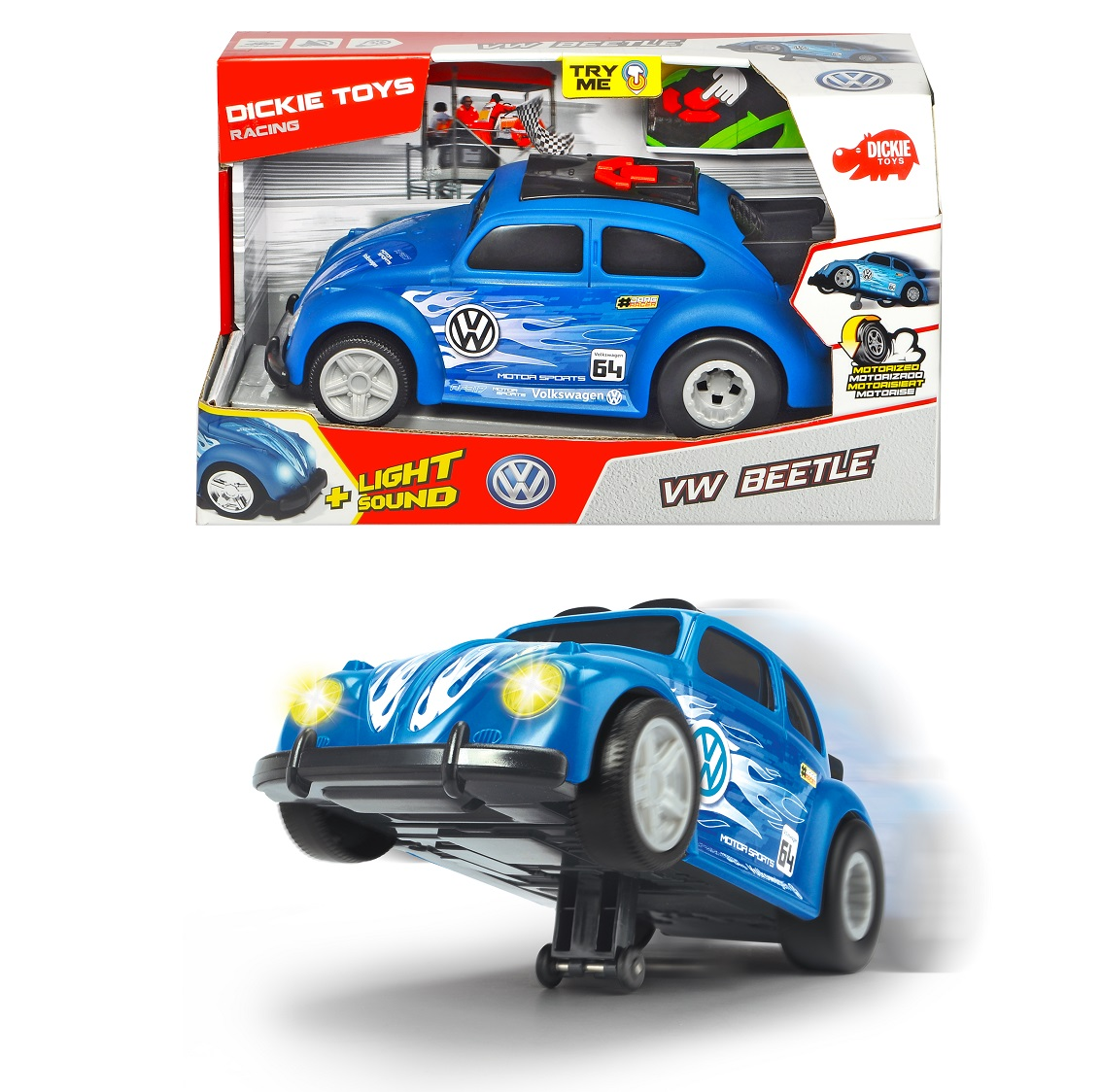 Купить Рейсинговый автомобиль VW Beetle, моторизованный, свет и звук, 25, 5 см., Dickie Toys