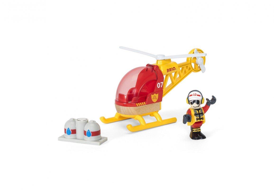 Спасательный вертолет с грузом и фигуркой.