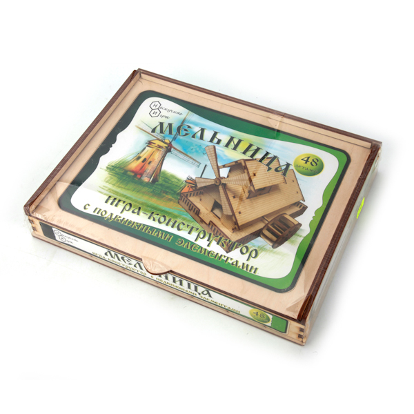 Игра-конструктор - Мельница, с движущимися элементамиДеревянный конструктор<br>Игра-конструктор - Мельница, с движущимися элементами<br>