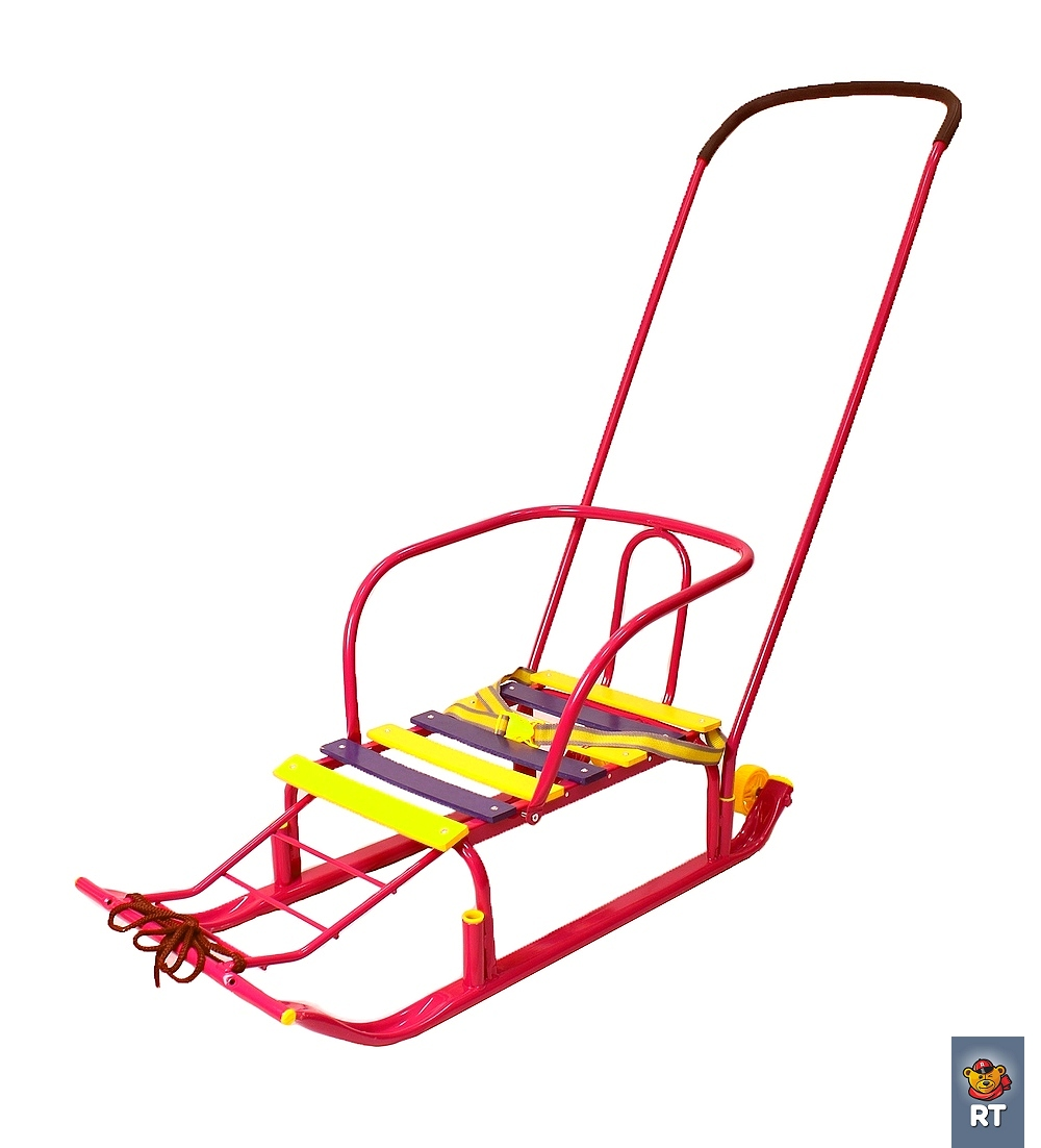 Санки Считалочка Семерка с большими колесиками, красныеСанки и сани-коляски<br>Санки Считалочка Семерка с большими колесиками, красные<br>