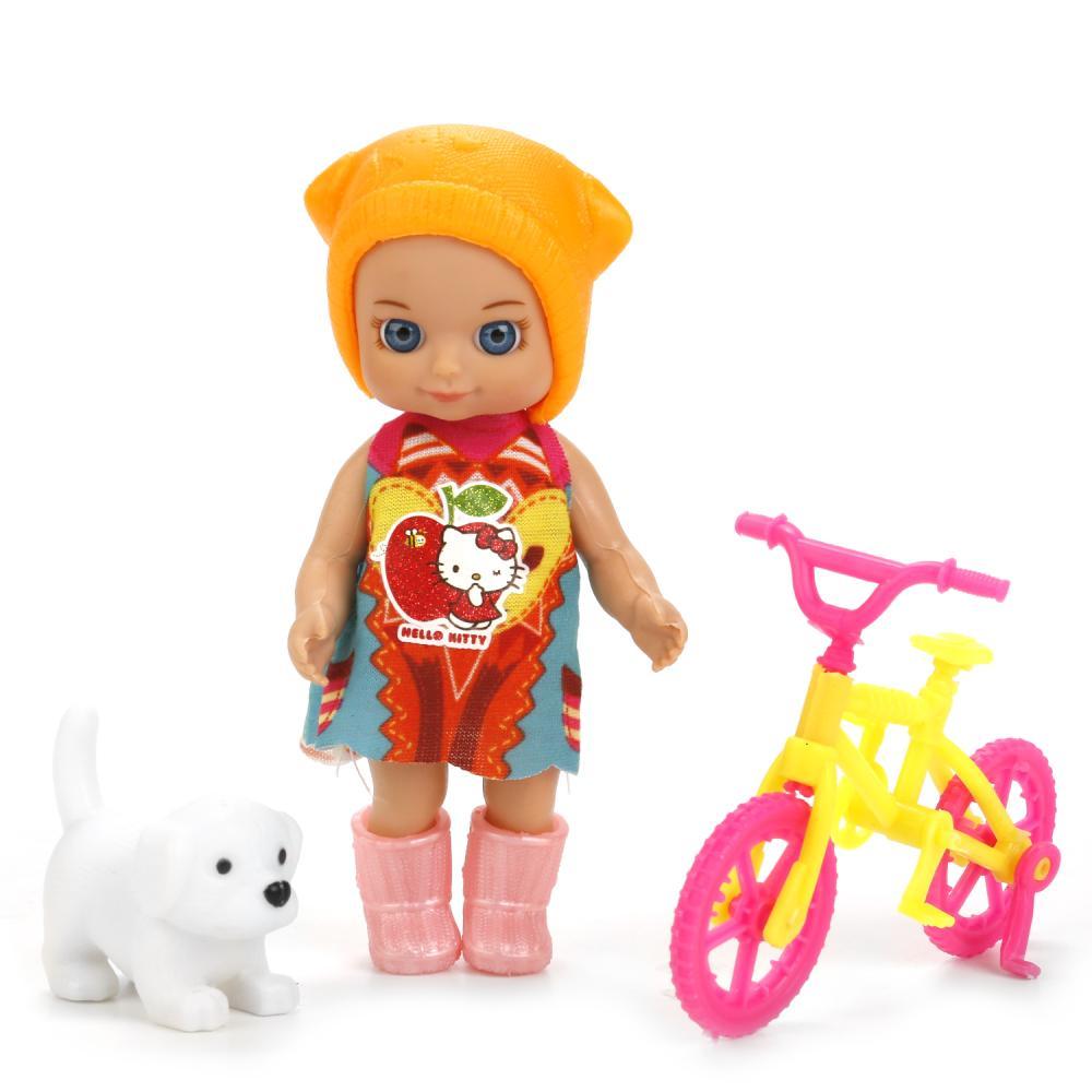 Купить Кукла из серии Hello Kitty 12 см., без звука, с велосипедом и аксессуарами, несколько видов ), Карапуз