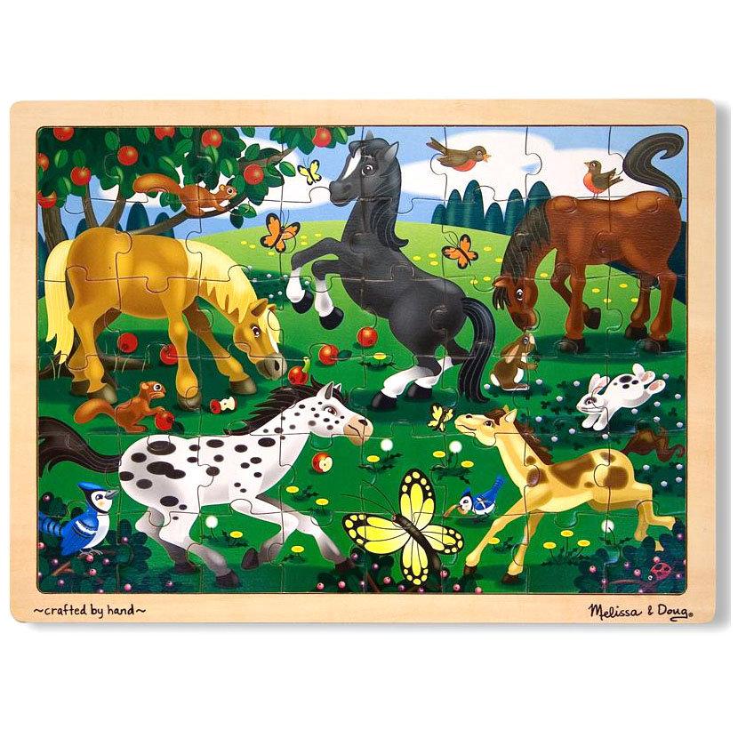 Купить Мои первые пазлы - Резвые лошади, 48 элементов, Melissa&Doug