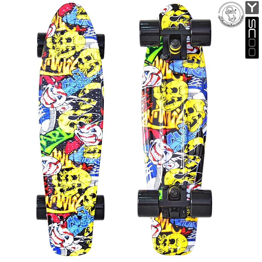 Скейтборд виниловый Y-Scoo Fishskateboard Print 22  401G-С с сумкой, дизайн Карикатура - Детские скейтборды, артикул: 153169