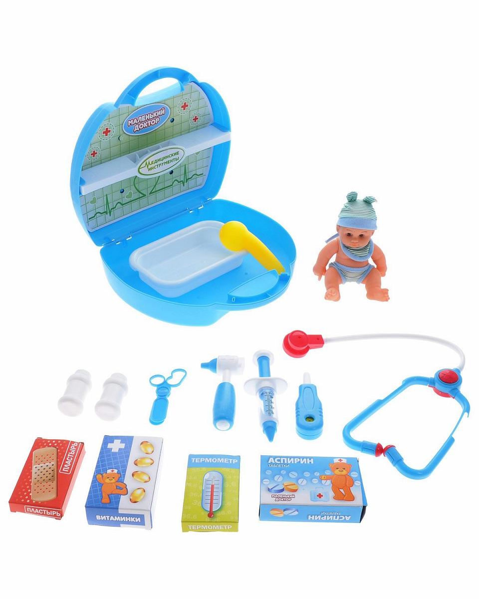 Маленький доктор. Набор доктора с пупсом в чемоданеНаборы доктора детские<br>Маленький доктор. Набор доктора с пупсом в чемодане<br>
