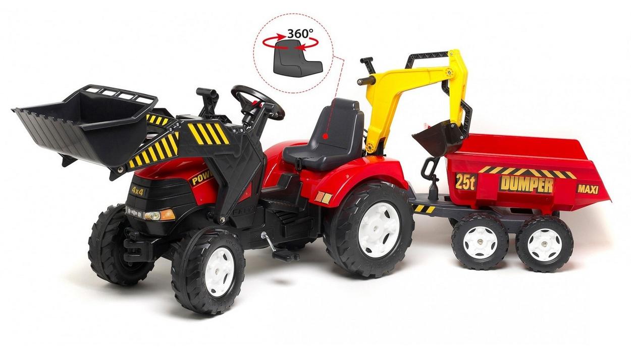 Педальный трактор-экскаватор с прицепом, цвет красный