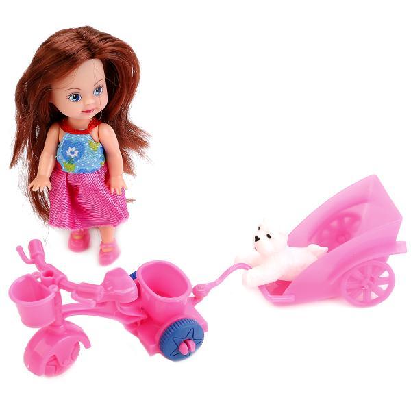 Купить Кукла Hello Kitty - Машенька 12 см, на велосипеде с прицепом, питомцем и аксессуарами, Карапуз