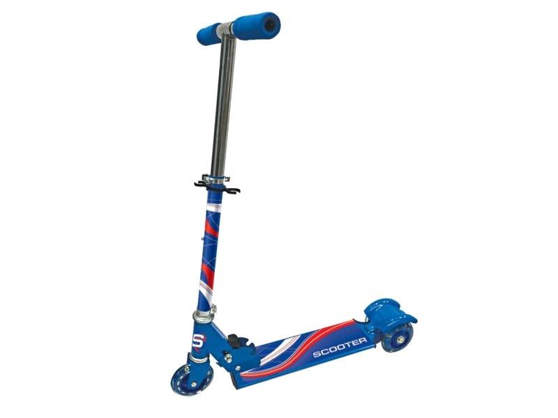 Трехколесный складной самокат со светящимися колесами, синийТрехколесные самокаты<br>Трехколесный складной самокат со светящимися колесами, синий<br>