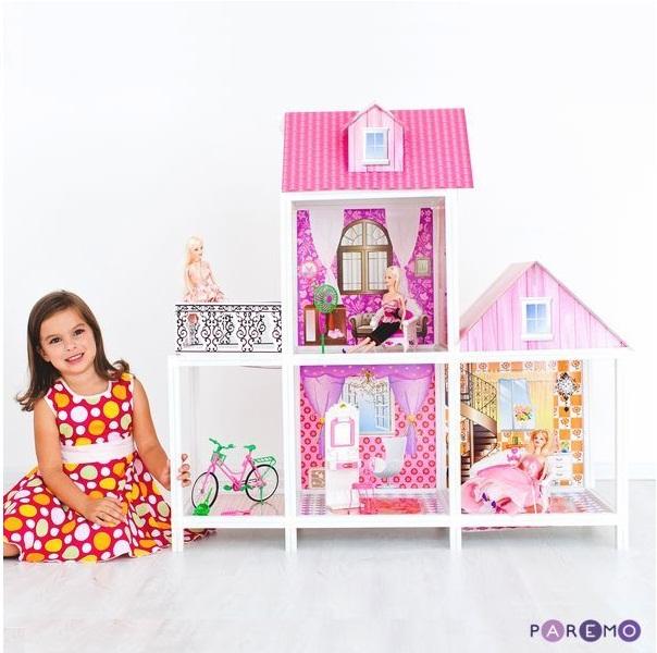 2-этажный кукольный дом, 3 комнаты, мебель, 3 куклы, велосипедКукольные домики<br>2-этажный кукольный дом, 3 комнаты, мебель, 3 куклы, велосипед<br>