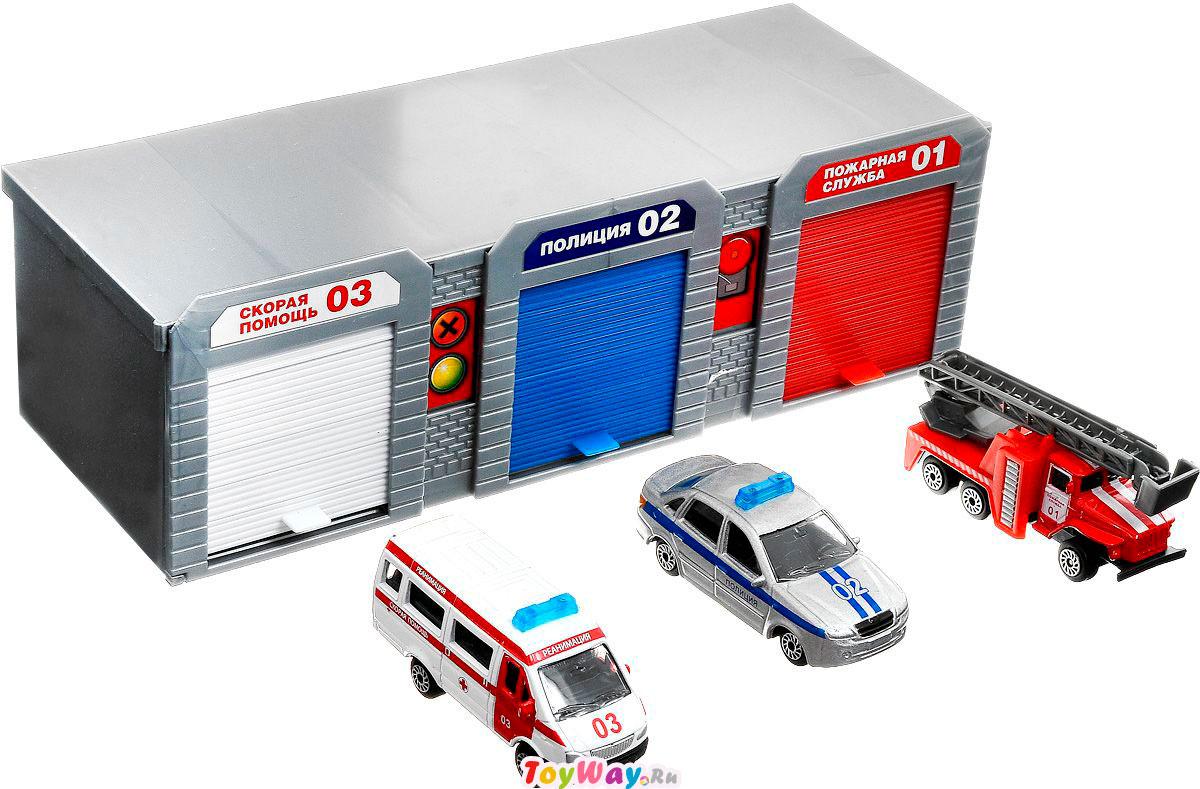 Гараж: скорая помощь, полицейская и пожарная машинаДетские парковки и гаражи<br>Гараж: скорая помощь, полицейская и пожарная машина<br>