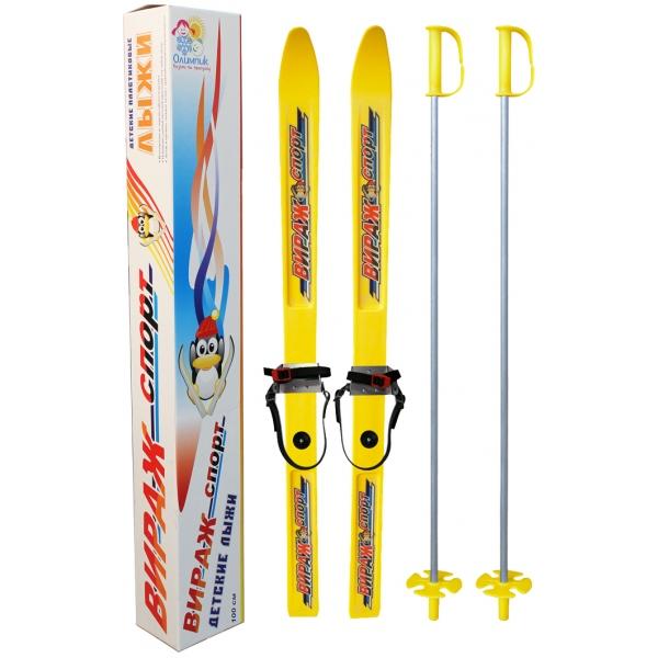 Детские лыжи с палками - Вираж-спорт, желтые, универсальное крепление ЦиклЛыжи<br>Детские лыжи с палками - Вираж-спорт, желтые, универсальное крепление Цикл<br>