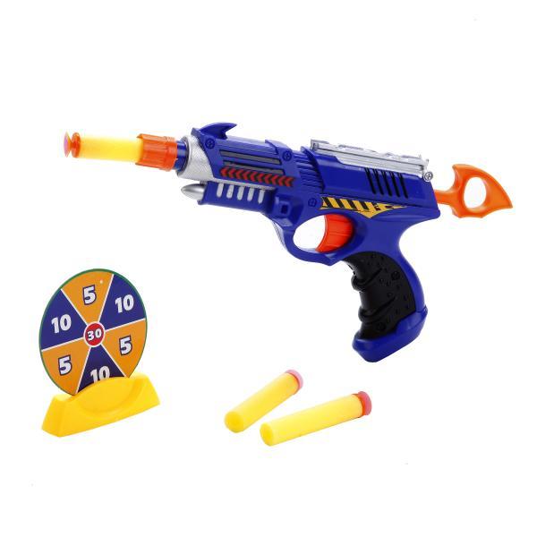 Бластер с мягкими пулями и мишеньюАвтоматы, пистолеты, бластеры<br>Бластер с мягкими пулями и мишенью<br>