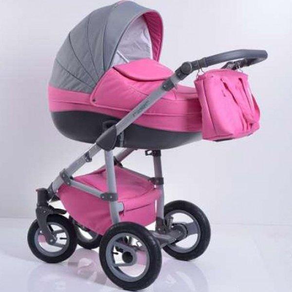 Коляска Tutic Rider 2 в 1, розово-сераяДетские коляски 2 в 1<br>Коляска Tutic Rider 2 в 1, розово-серая<br>