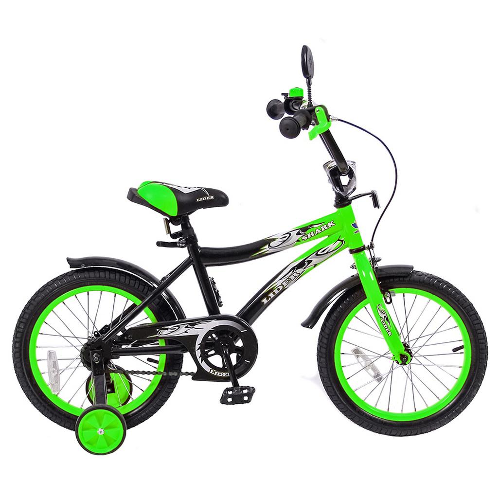 Двухколесный велосипед Lider shark, диаметр колес 16 дюймов, зеленый/черныйВелосипеды детские<br>Двухколесный велосипед Lider shark, диаметр колес 16 дюймов, зеленый/черный<br>