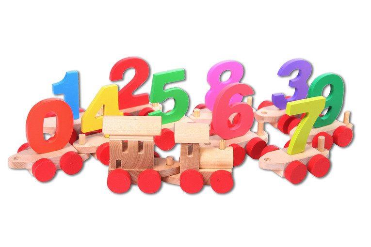 Деревянный паровозик с цифрами - в пакетеПаровозики и машинки<br>Деревянный паровозик с цифрами - в пакете<br>