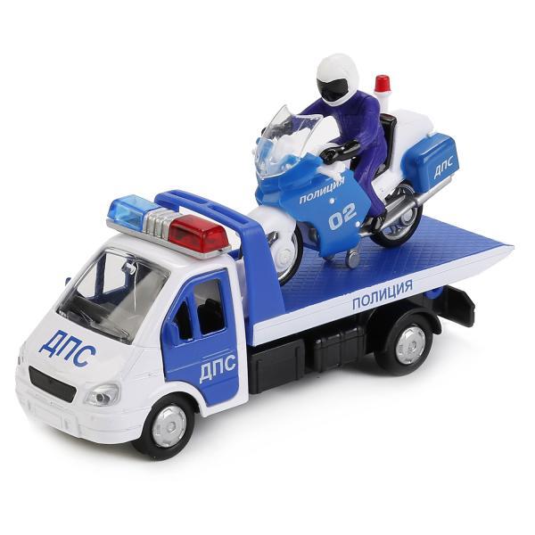 Купить Набор из 2 металлических инерционных полицейских машинок – Газель эвакуатор 12, 5 см. и мотоцикл 7, 5 см., Технопарк