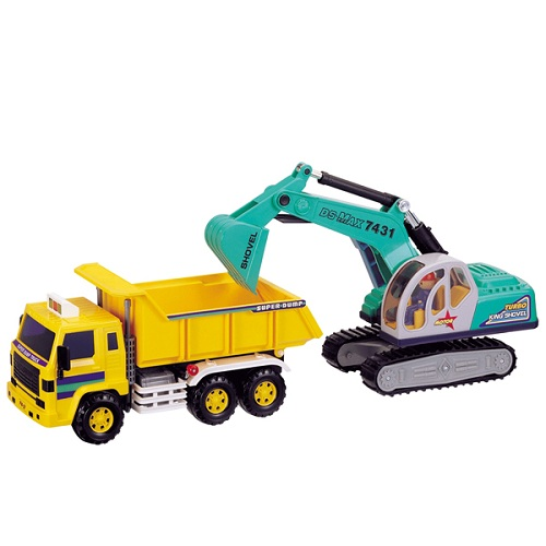 Игрушка машина самосвал с экскаваторомБетономешалки, строительная техника<br>Игрушка машина самосвал с экскаватором<br>