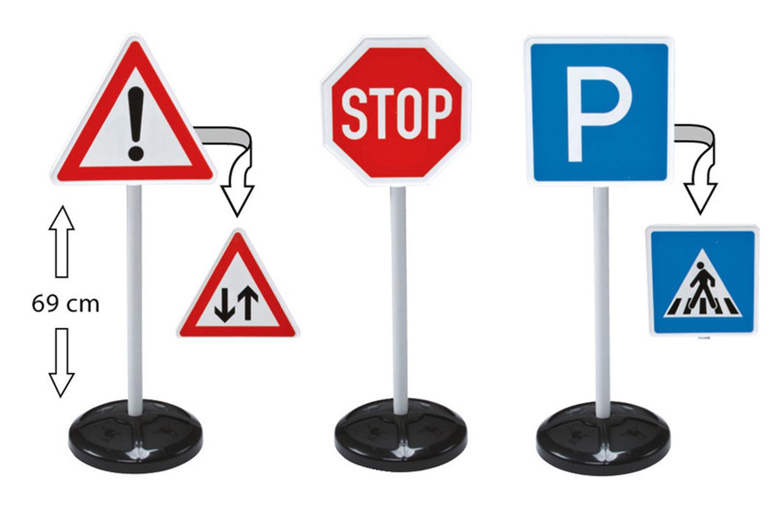 Big-Traffic-Signs - игрушечные дорожные знаки, высота 69 см.Знаки дорожного движения, светофоры<br>С этим набором ребенок не только научится определять основные знаки дорожного движения, но и весело проведет время.<br>Основные знаки: стоп, в...<br>