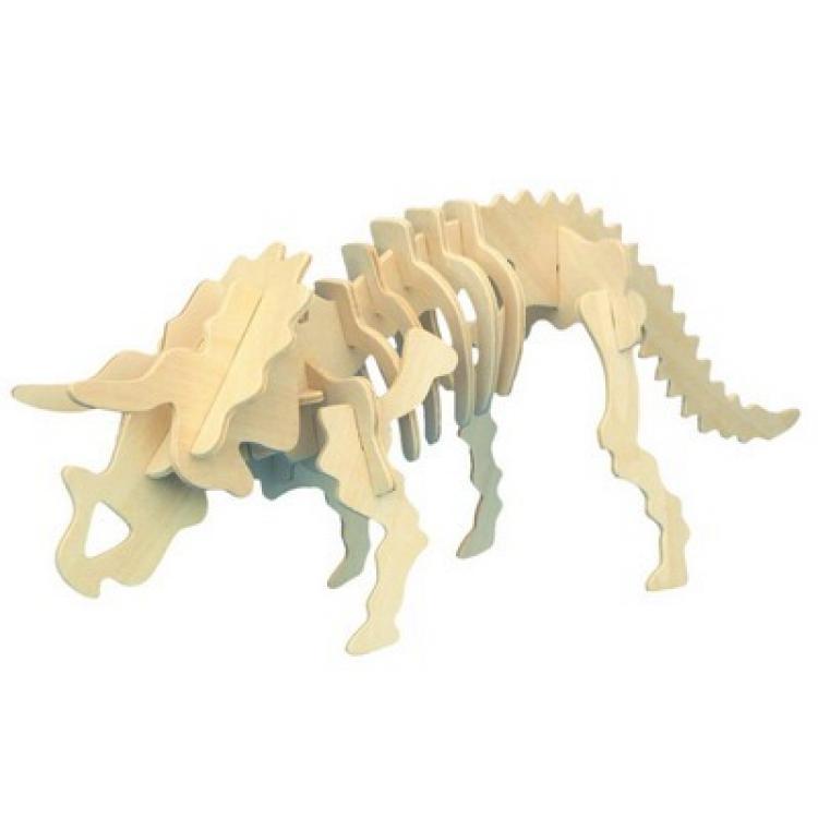 Модель деревянная сборная - ТрицератопсПазлы объёмные 3D<br>Модель деревянная сборная - Трицератопс<br>