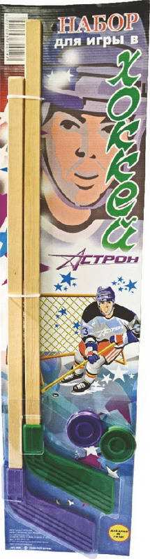 Купить Набор хоккейный, 2 клюшки, 2 шайбы, Астрон